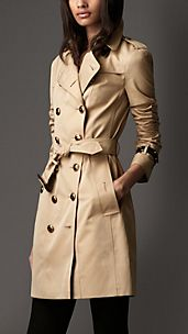 Trench-coat long en gabardine de coton à touches de cuir