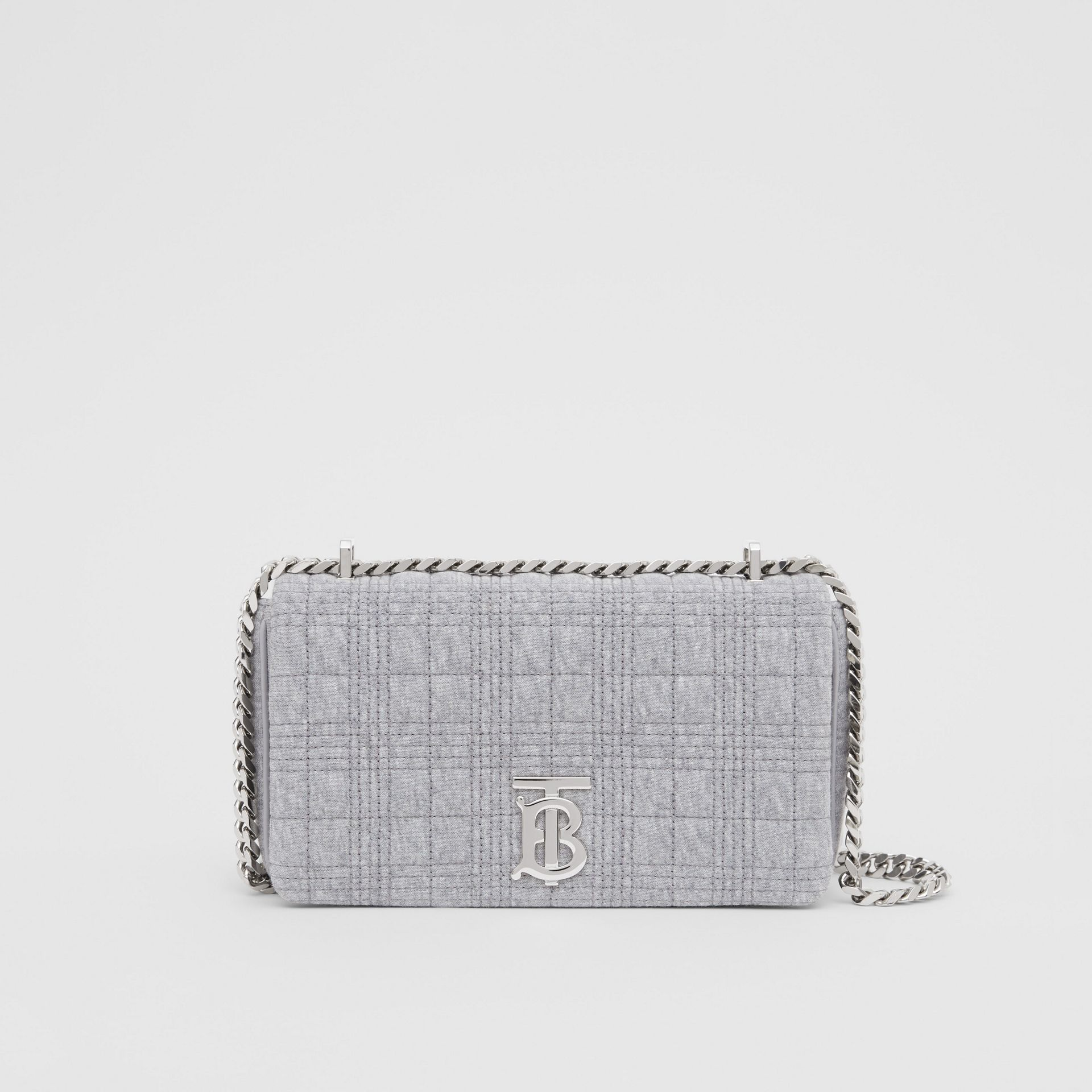 Small Quilted Jersey Lola Bag in Grey Taupe Melange | Burberry - gallery image 0