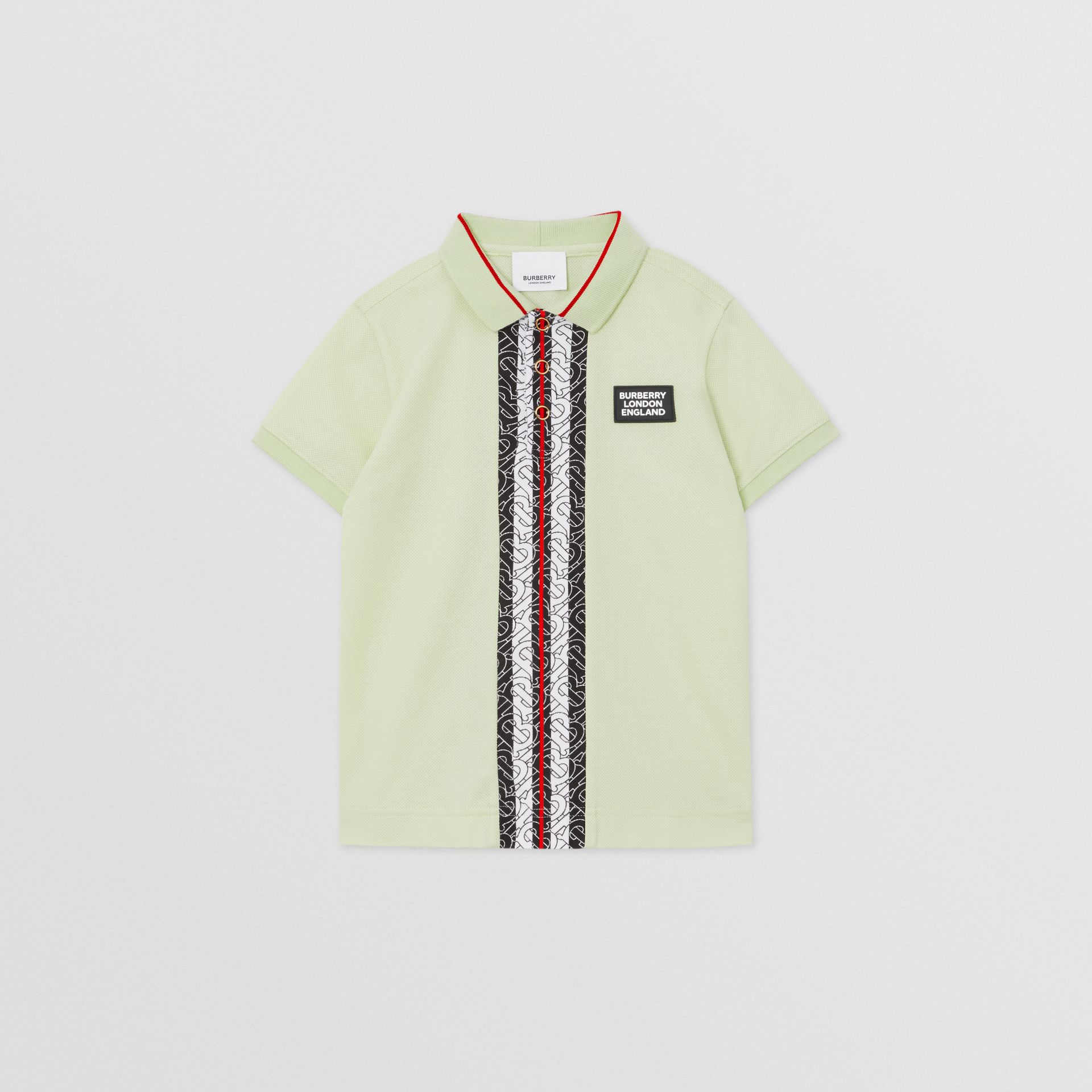 Monogram Stripe Print Cotton Piqué Polo Shirt in Pistachio | Burberry United States - gallery image 0