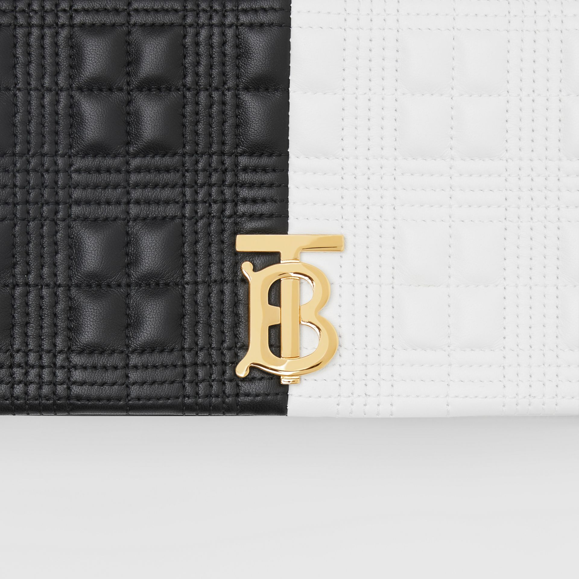Small Quilted Two-tone Lambskin Lola Bag in White/black - Women | Burberry United Kingdom - gallery image 9
