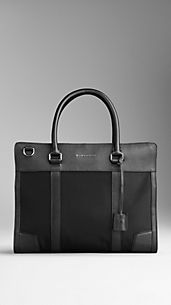 London Leather and Nylon Briefcase
