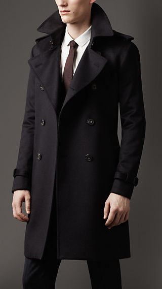 Mid-Length Cashmere Trench Coat