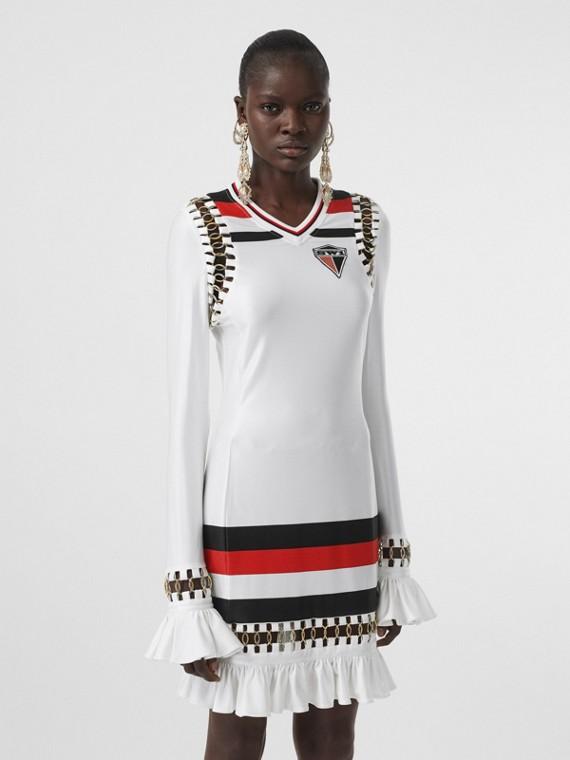 Ring-pierced Striped Stretch Jersey Mini Dress in Optic White