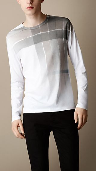 Long Sleeve Check Graphic T-shirt