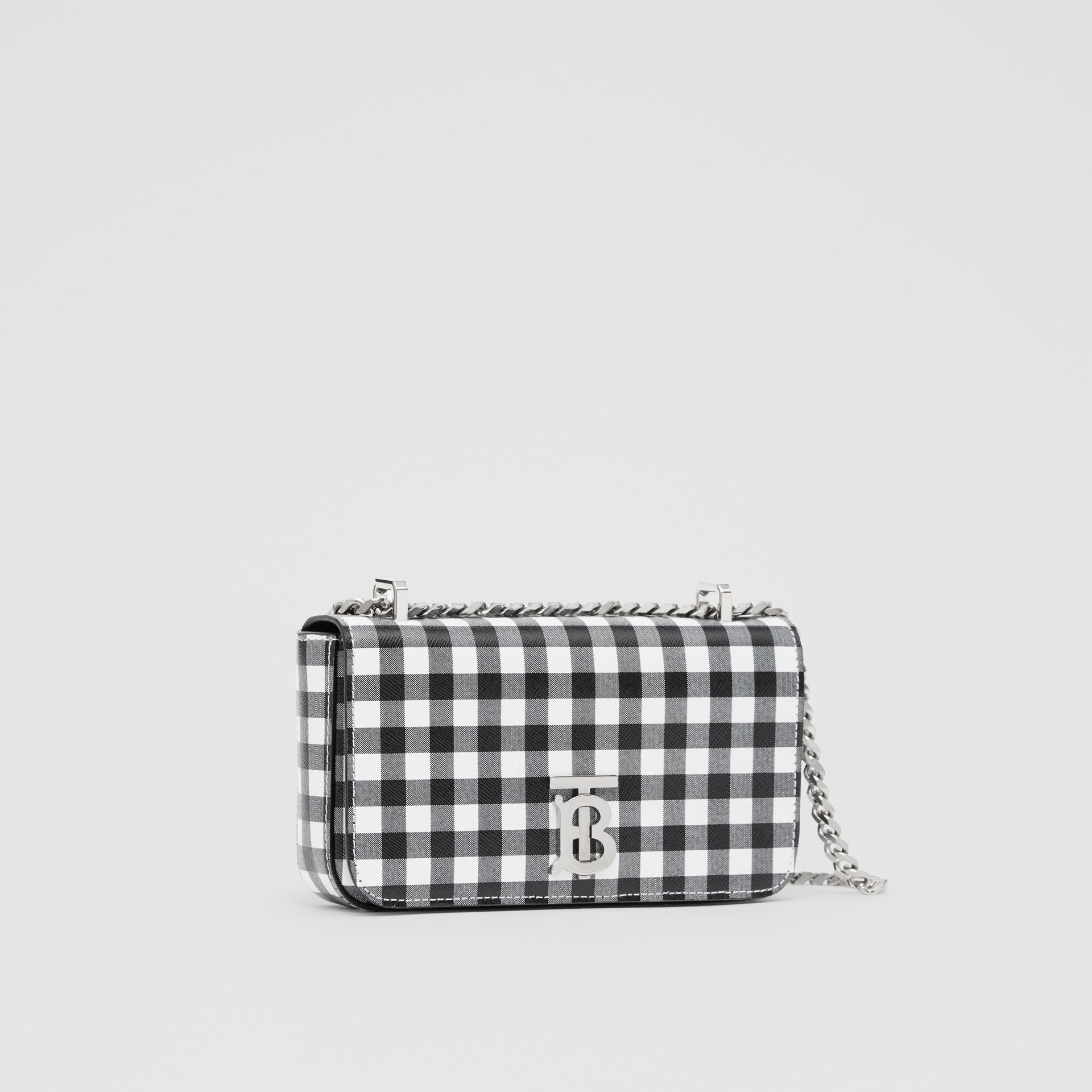 Mini Gingham Leather Lola Bag in Black/white - Women | Burberry - gallery image 6
