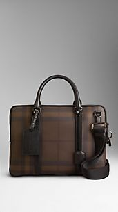 Medium Smoked Check Briefcase