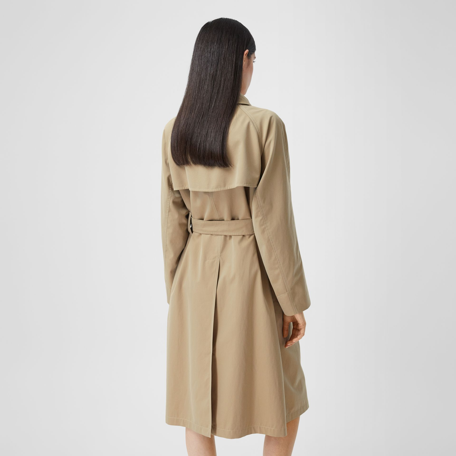 Tropical Gabardine Belted Car Coat in Honey - Women | Burberry - gallery image 2