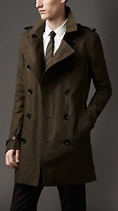 Trench-coat mi-long en gabardine avec bordure en cuir