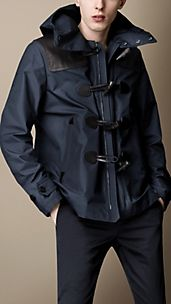 Leather Detail Duffle Jacket