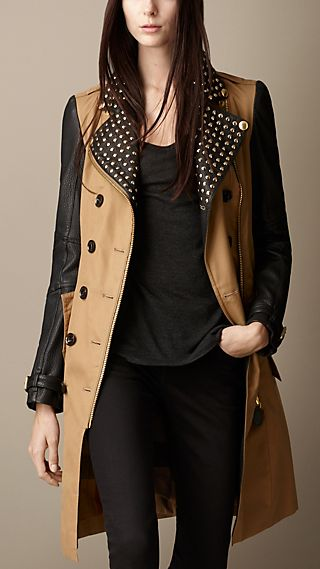 Studded Leather Biker Trench Coat