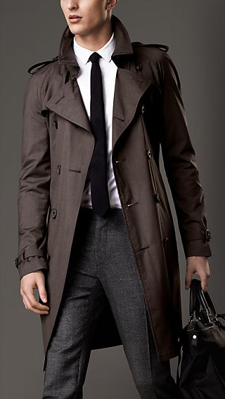 Mid-Length Wool-Silk Trench Coat