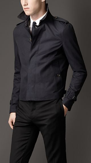 Cotton Gabardine Harrington Jacket