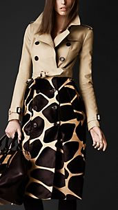 Contrast Animal Print Trench Coat
