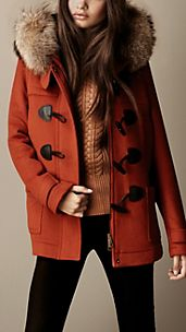 Fur Trim Hooded Duffle Coat