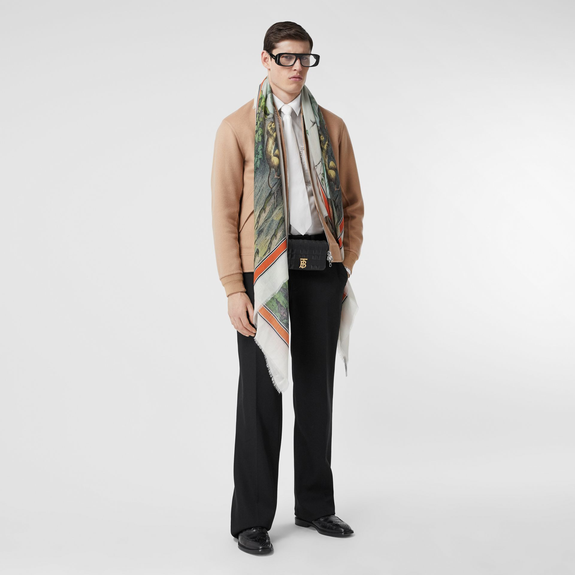Monkey Print Lightweight Cashmere Scarf in Opal Green | Burberry - gallery image 7