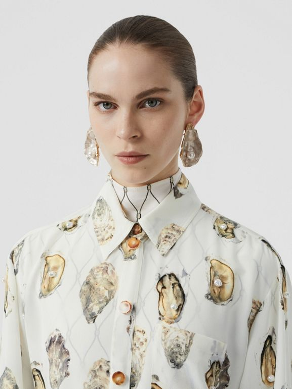 Embellished Oyster Print Silk Oversized Shirt in White - Women | Burberry - cell image 1