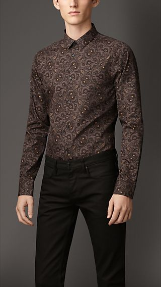 Slim Fit Paisley Cotton Silk Shirt