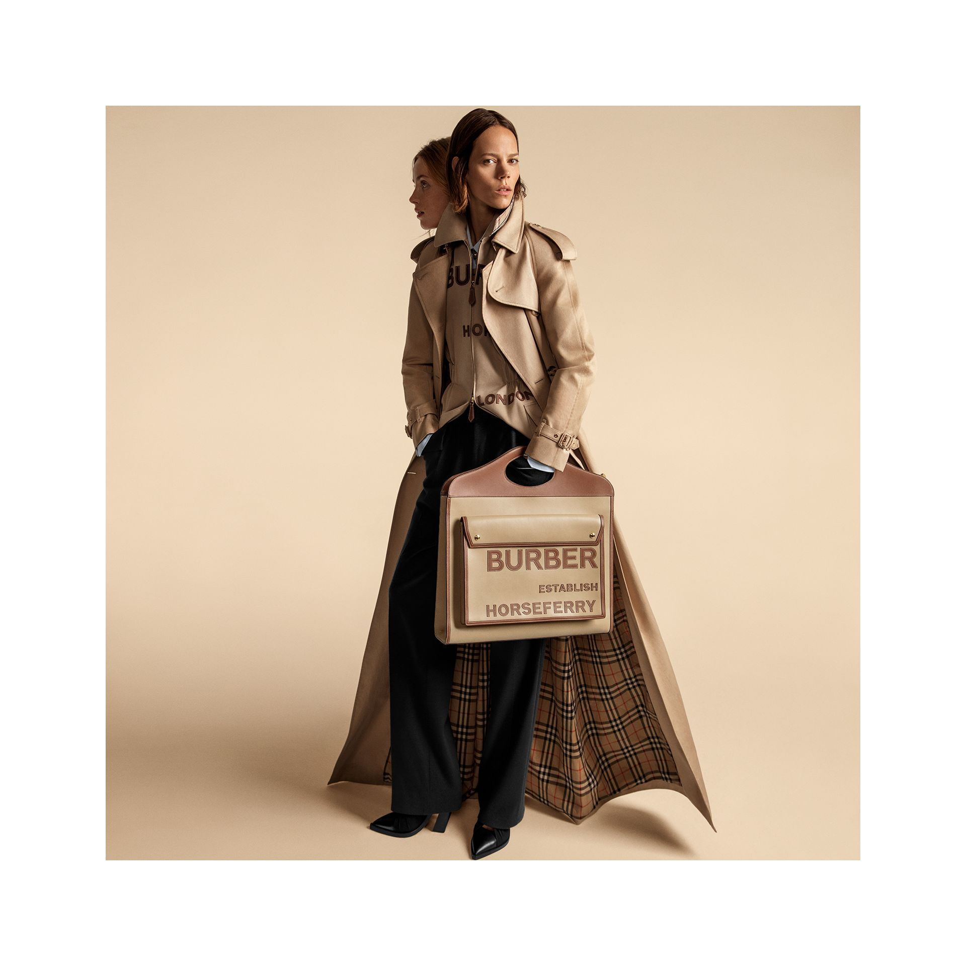 Extra Large Horseferry Appliqué Leather Pocket Bag in Honey - Women | Burberry - gallery image 1