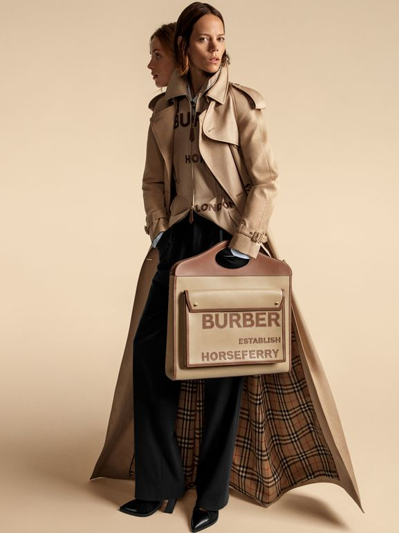 Extra Large Horseferry Appliqué Leather Pocket Bag in Honey - Women | Burberry - cell image 1