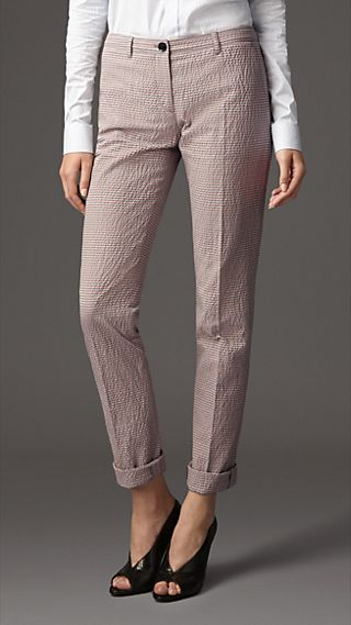 Striped Cotton Seersucker Slim Leg Trousers