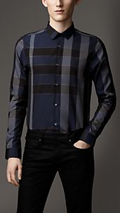Slim Fit Check Tonic Cotton Shirt