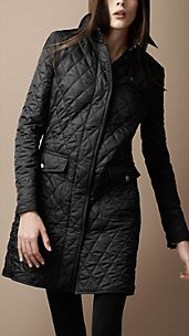 Mid-Length Diamond Quilted Trench Coat