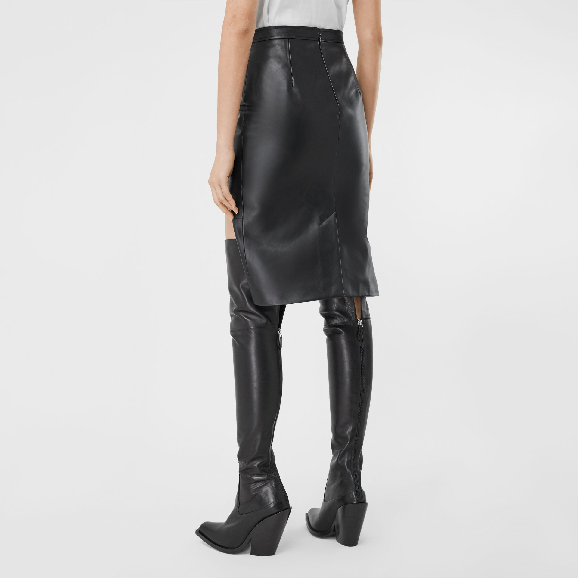 Leather Step-through Pencil Skirt in Black | Burberry United Kingdom - gallery image 1