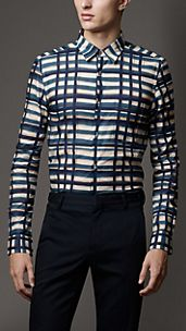 Modern Fit Painted Check Cotton Shirt