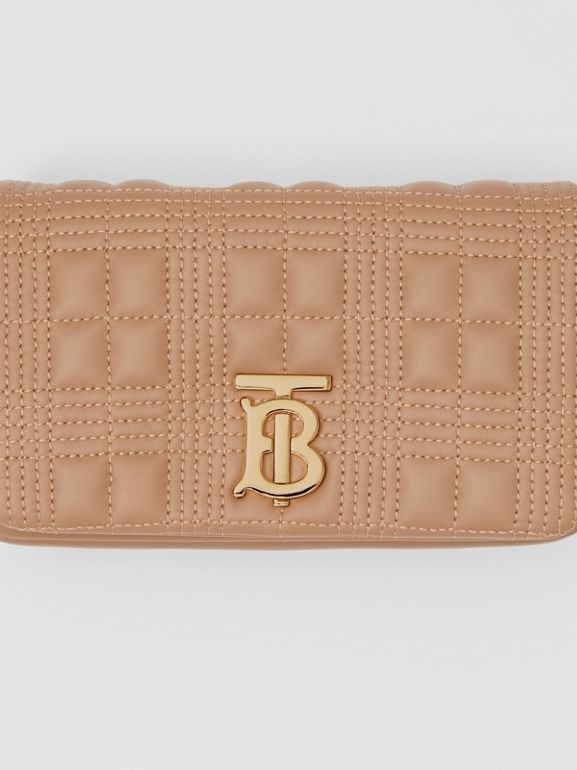 Quilted Lambskin Lola Bum Bag in Camel | Burberry - cell image 1