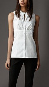 Bow Collar Stretch Cotton Shirt