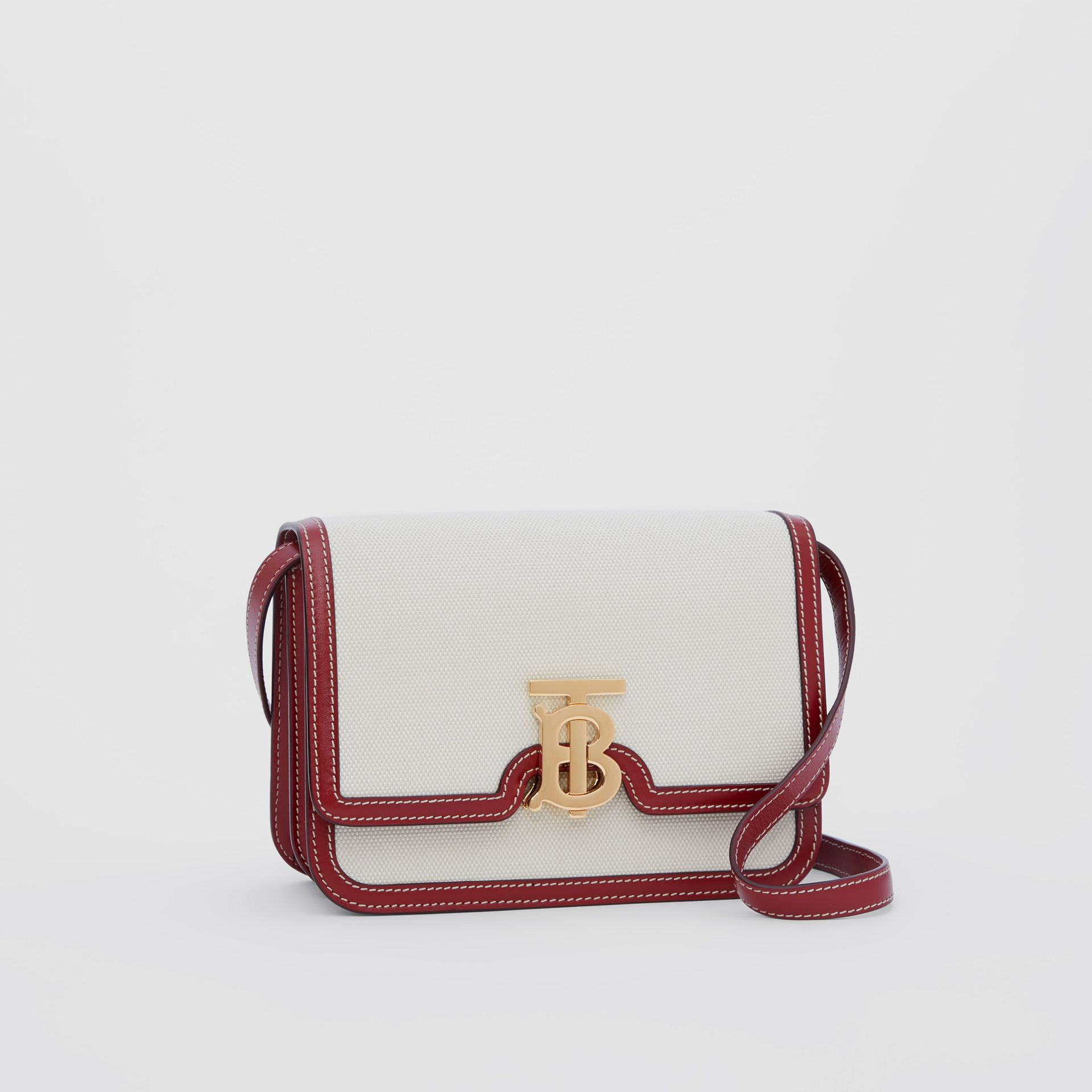 Small Two-tone Canvas and Leather TB Bag in Natural/dark Carmine - Women | Burberry Australia - gallery image 5