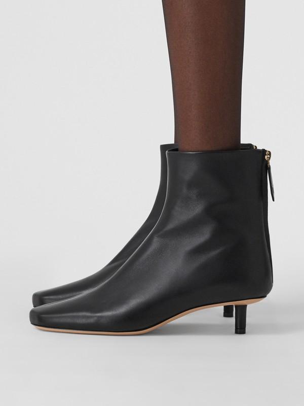 Lambskin Sculptural Kitten-heel Ankle Boots in Black - Women | Burberry - cell image 2