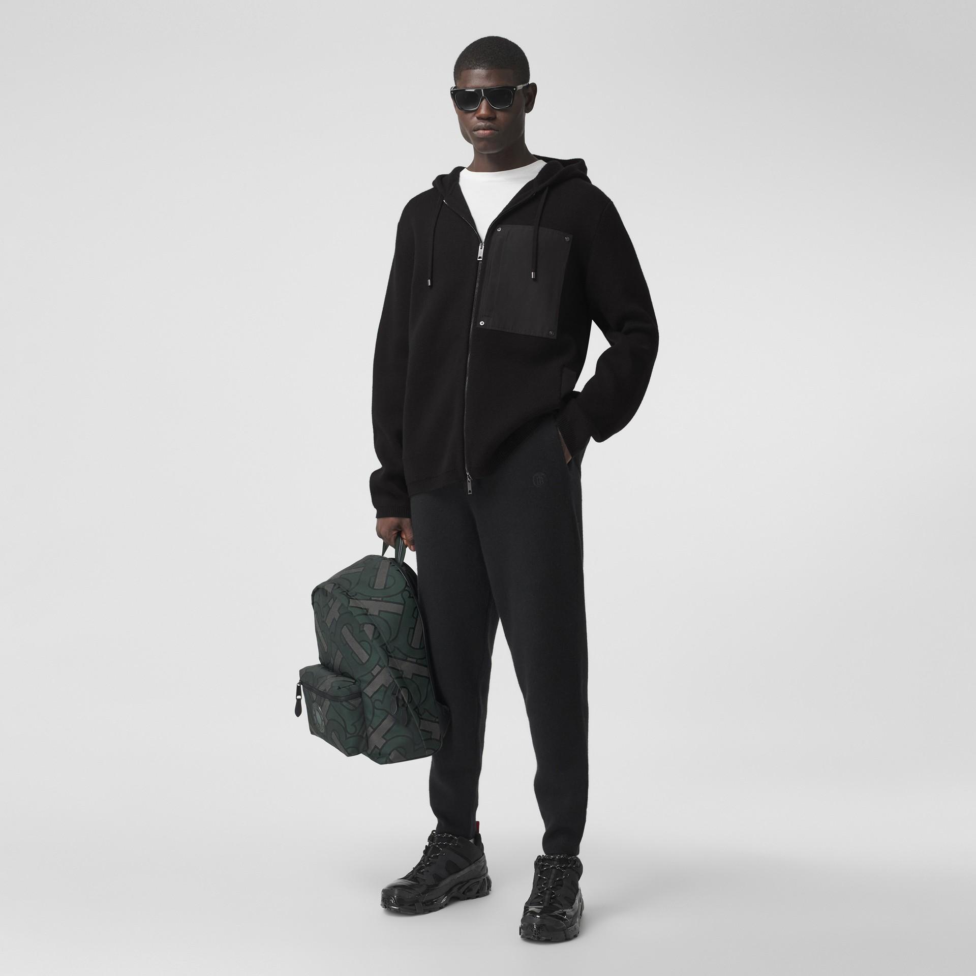 Contrast Pocket Wool Hooded Top in Black - Men | Burberry - gallery image 5