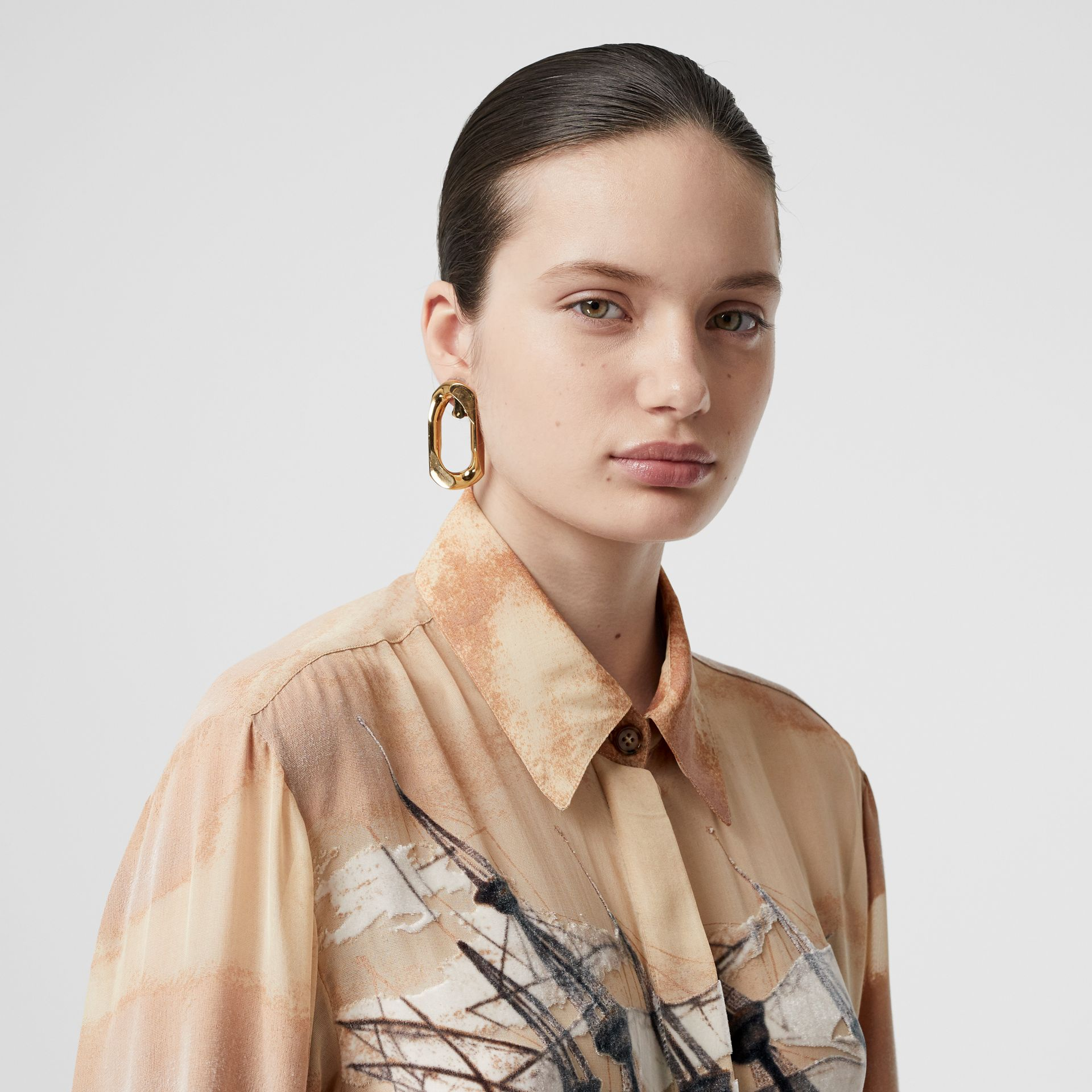 Ship Print Devoré Silk Blend Oversized Shirt in Bronze - Women | Burberry - gallery image 1