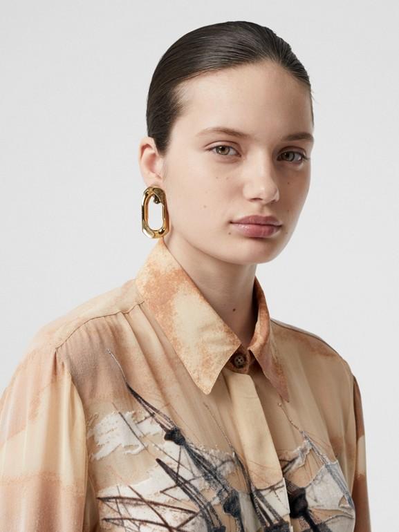 Ship Print Devoré Silk Blend Oversized Shirt in Bronze - Women | Burberry - cell image 1