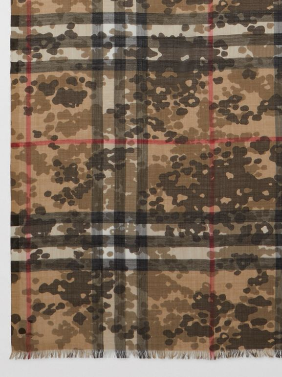 Lightweight Camouflage Check Wool Silk Scarf   Burberry United Kingdom - cell image 1