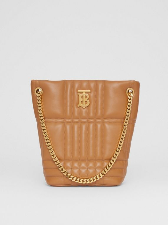 Small Quilted Lambskin Lola Bucket Bag in Maple Brown