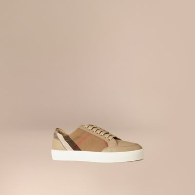 Salmond Check & Leather Low-Top Sneakers in Neutrals