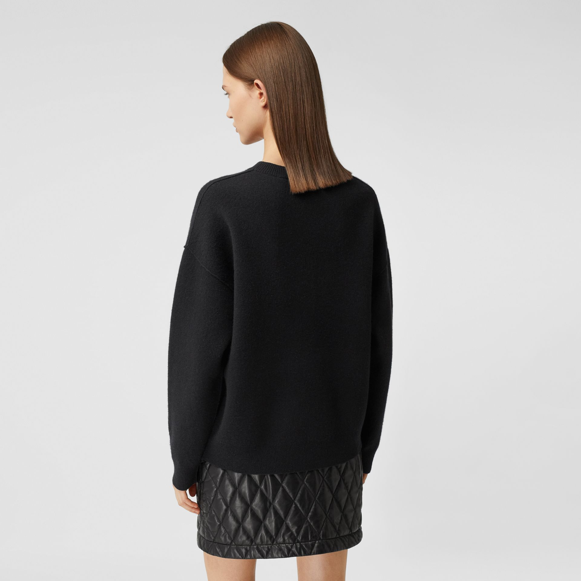 Monogram Motif Cashmere Blend Sweater in Black - Women | Burberry - gallery image 2