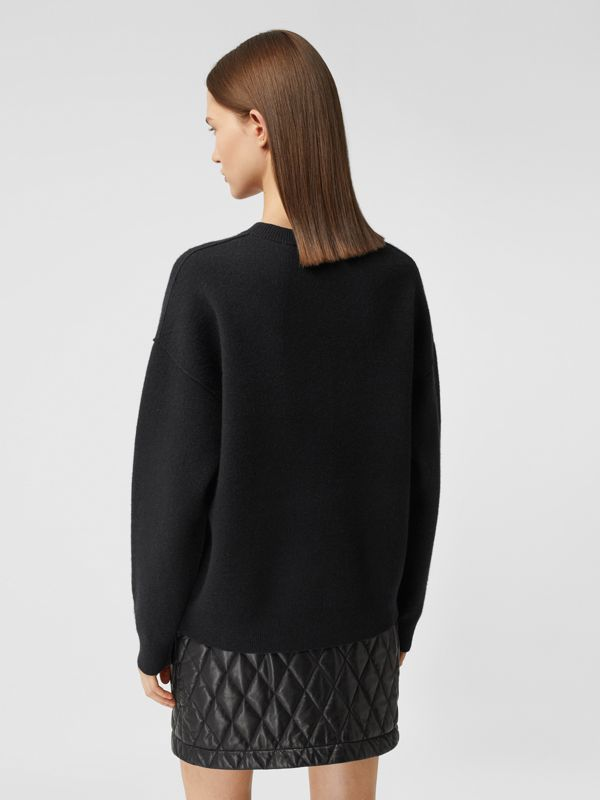 Monogram Motif Cashmere Blend Sweater in Black - Women | Burberry - cell image 2