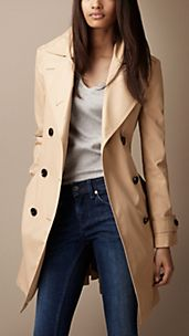 Mid-Length Cotton Poplin Oversize Collar Trench Coat
