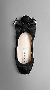 Bow Detail Satin Slippers