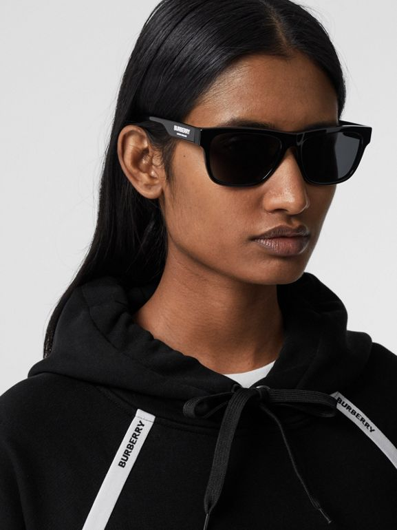 Logo Tape Cotton Oversized Hoodie in Black - Women | Burberry - cell image 1