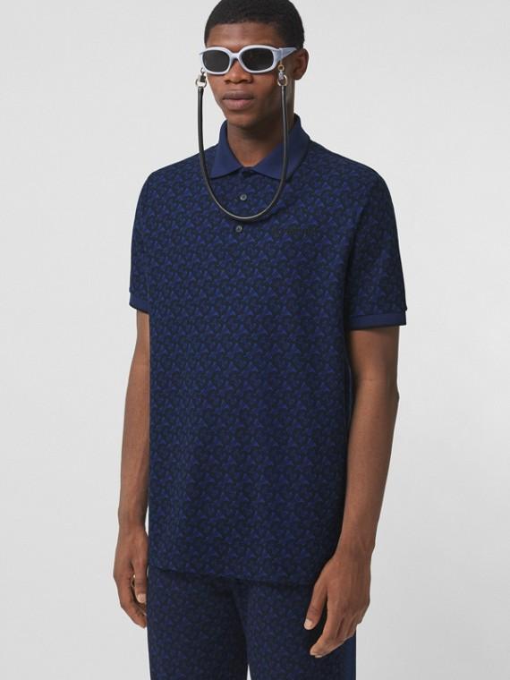 Camisa polo oversize em algodão piquê com monograma (Azul Royal Profundo)