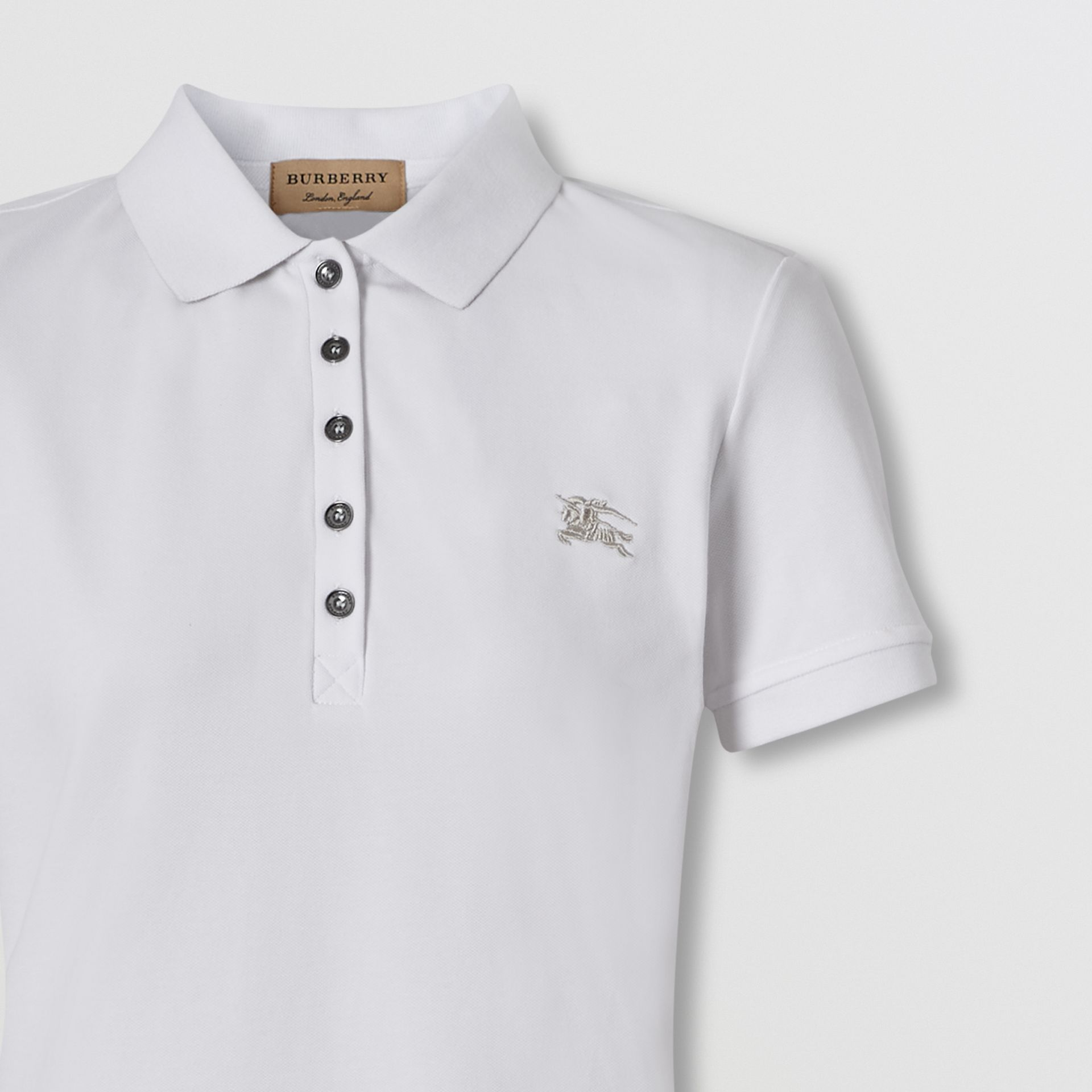Check Trim Stretch Cotton Polo Shirt in White - Women | Burberry - gallery image 1