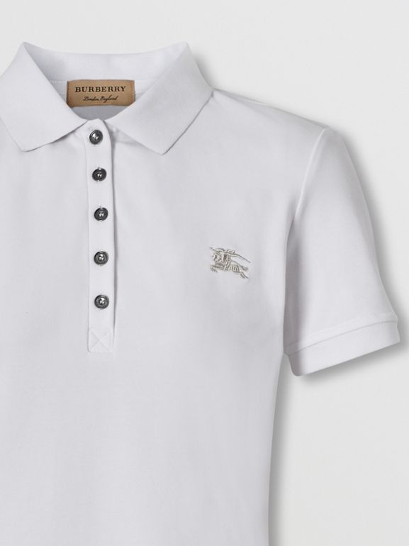 Check Trim Stretch Cotton Polo Shirt in White - Women | Burberry - cell image 1