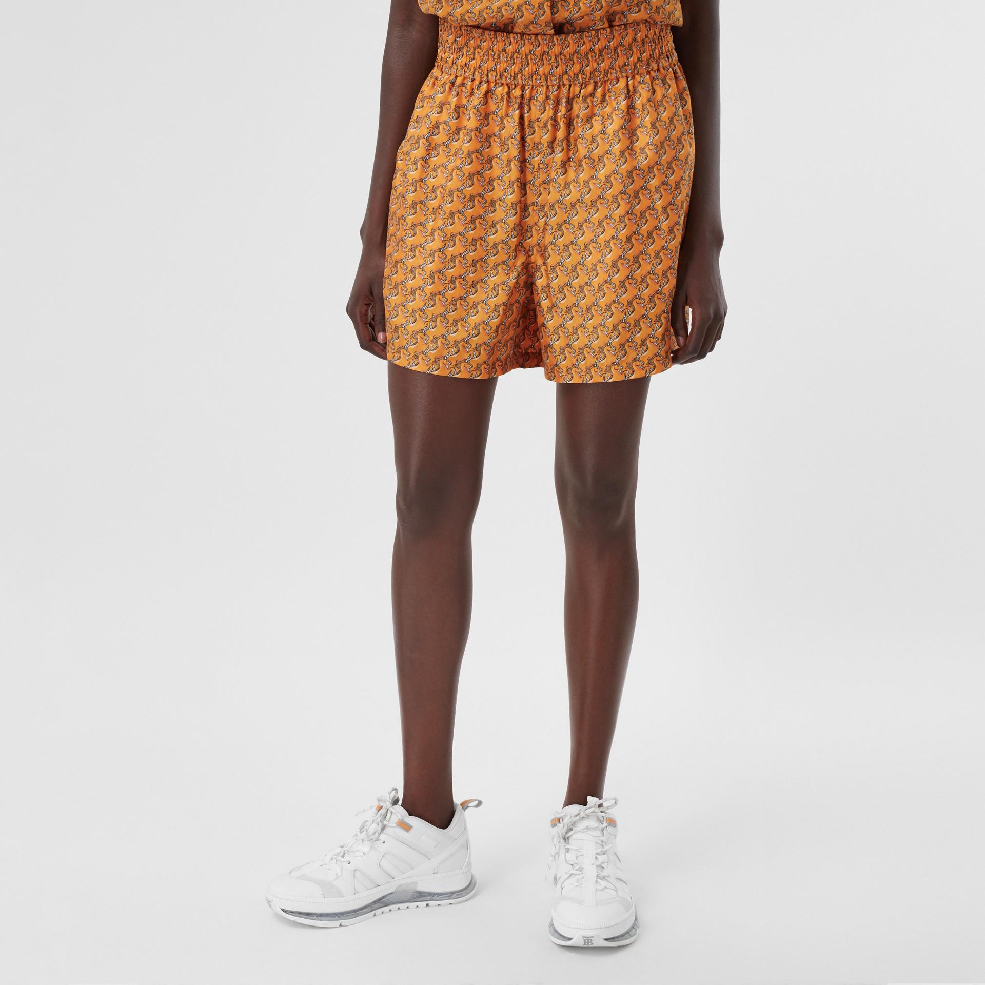 Unicorn Print Silk Twill Shorts in Bright Melon   Burberry United Kingdom - gallery image 3