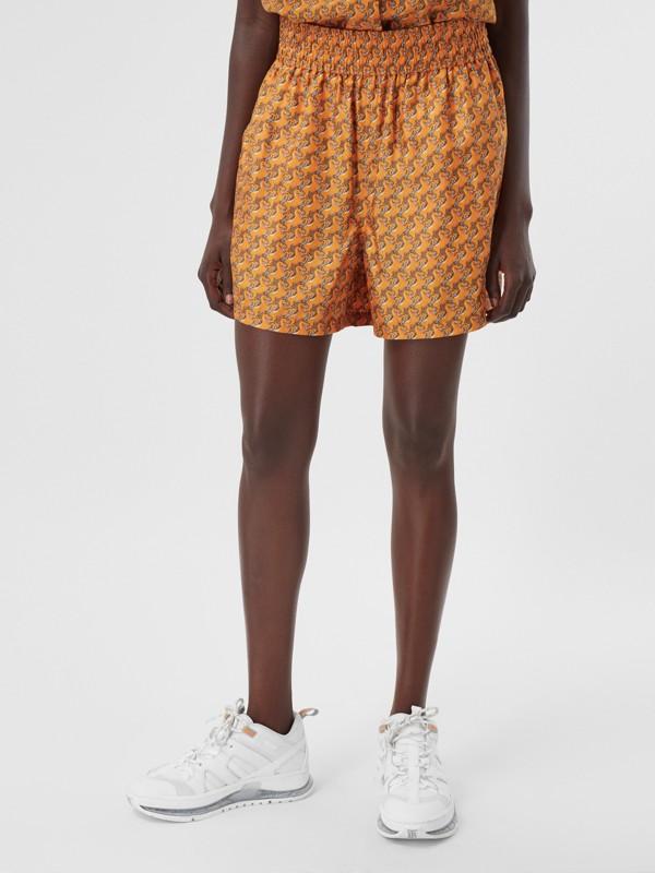 Unicorn Print Silk Twill Shorts in Bright Melon   Burberry United Kingdom - cell image 3