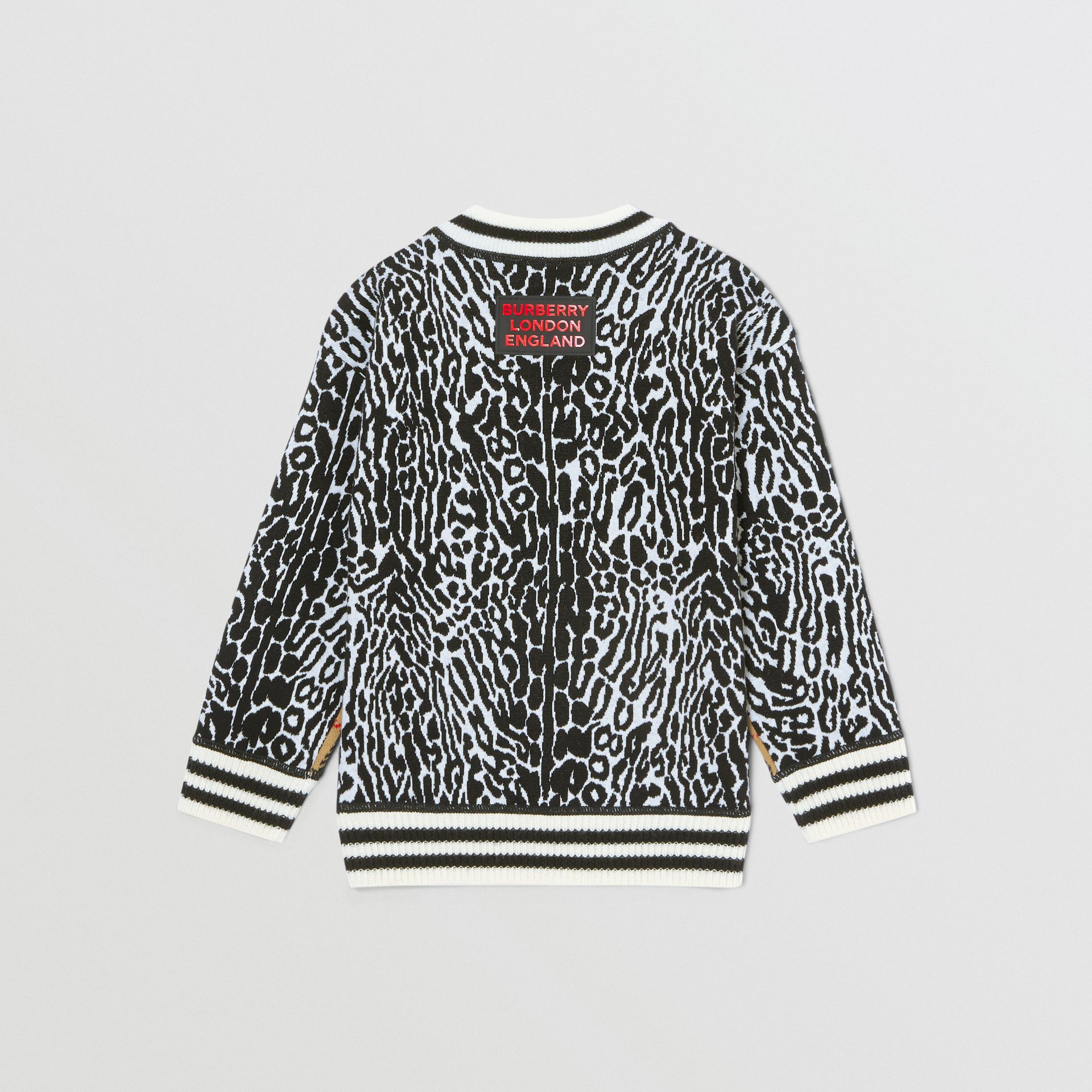 Check and Leopard Merino Wool Jacquard Sweater in Print | Burberry United States - gallery image 3
