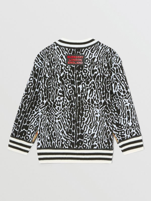 Check and Leopard Merino Wool Jacquard Sweater in Print | Burberry United States - cell image 3